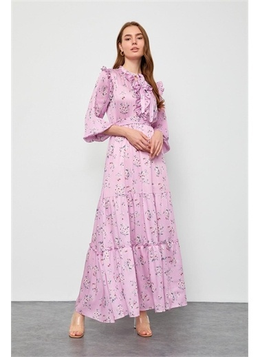 Setre Ekru-Lila Floral Desen Maxi Elbise Pembe